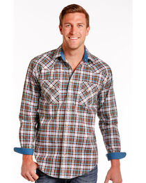 Rough Stock by Panhandle Northridge Ombre Plaid Snap Shirt, , hi-res
