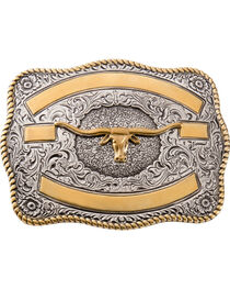 Two-tone Longhorn Belt Buckle, , hi-res