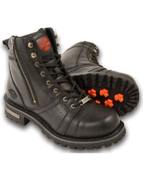 Milwaukee Leather Men's Lace To Toe Boots - Round Toe, Black, hi-res