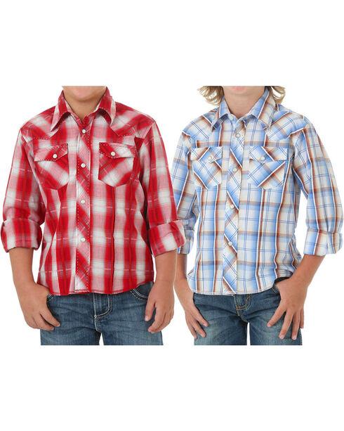 Wrangler Boys' Plaid Assorted Long Sleeve Shirt, Multi, hi-res