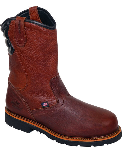 "Thorogood Men's 11"" Waterproof Wellington Work Boots - Steel Toe, Brown, hi-res"