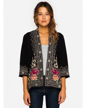 Johnny Was Women's Black Flores Draped Cardigan , Black, hi-res