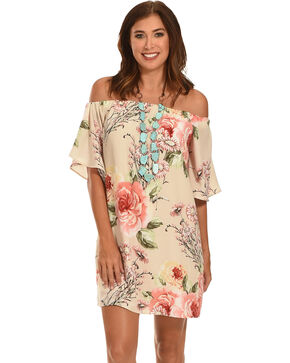 Ces Femme Women's Floral Off The Shoulder Dress , Pink, hi-res