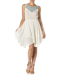Miss Me Ivory Sleeveless Embroidered Dress, , hi-res