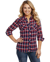 Cowgirl Up Women's Red and Blue Plaid Enzyme Wash Shirt , , hi-res