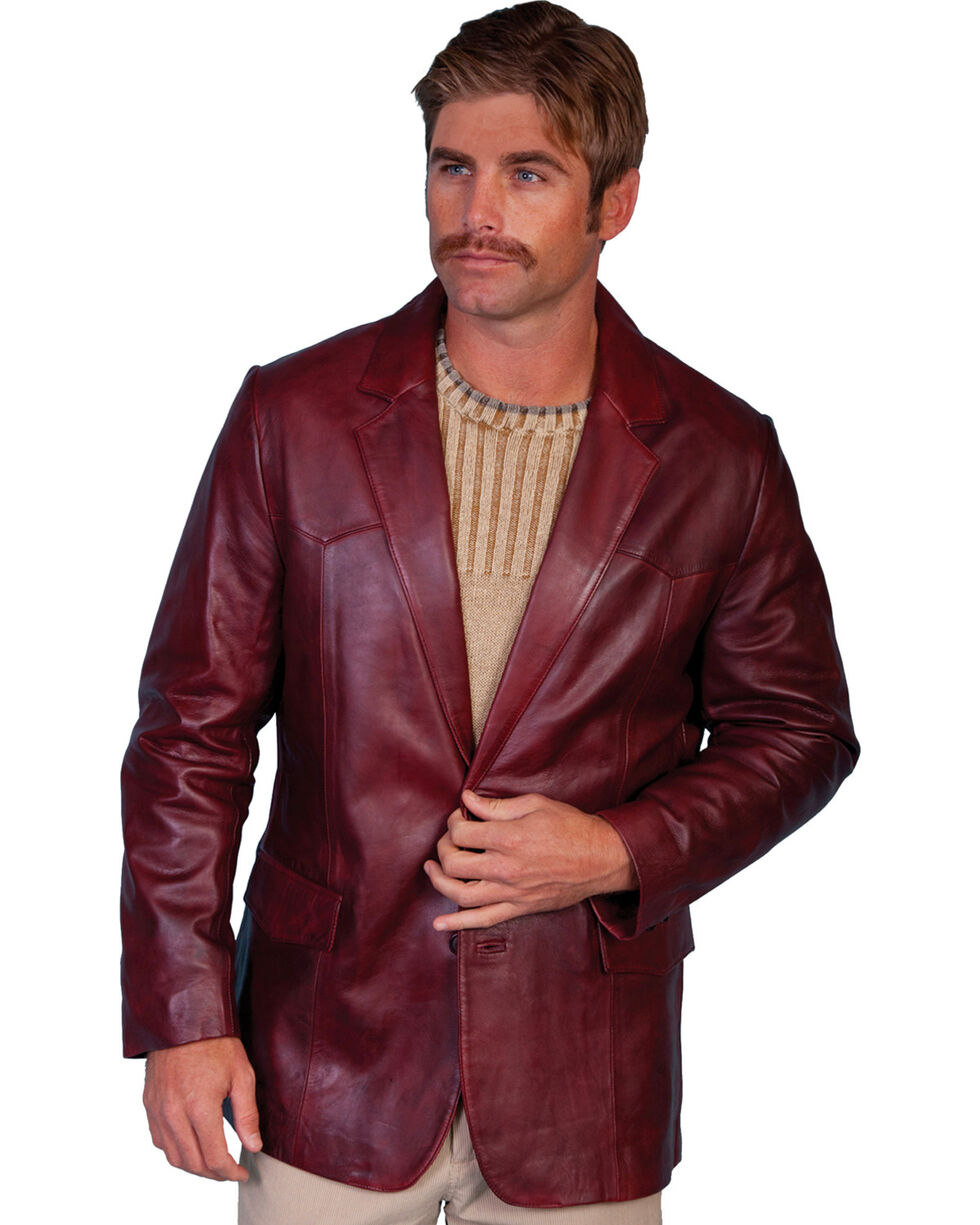 Scully Men's Lamb Leather Blazer - Big and Tall , Black Cherry, hi-res