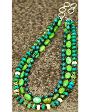 Isac West Three Strand Multi-Shape Turquoise Necklace, Turquoise, hi-res