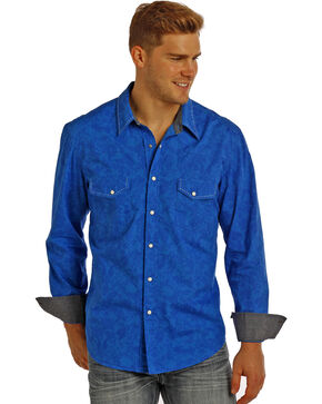 Rock & Roll Cowboy Men's Paisley Poplin Long Sleeve Shirt, Blue, hi-res