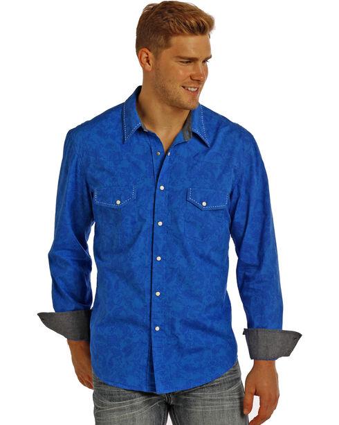 Rock & Roll Cowboy Men's Paisley Poplin Long Sleeve Shirt, Blue, hi-res