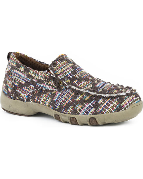 Roper Boys' Chase Criss Cross Overlay Tweed Driving Mocs - Moc Toe, Brown, hi-res