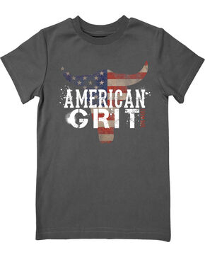 Farm Boy Boys' American Grit Tee, Grey, hi-res