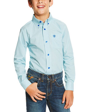 Ariat Boy's Irondale Long Sleeve Shirt, Blue, hi-res