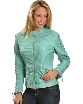 Scully Women's Lamb Skin Jacket, Blue, hi-res