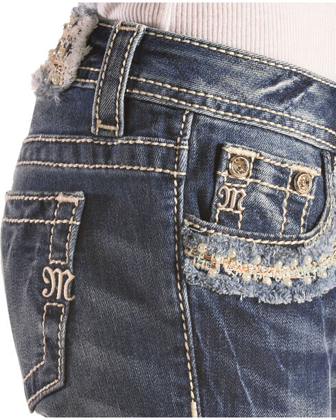 Miss Me Girls' Floral Pocket Jeans , Indigo, hi-res