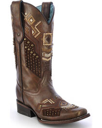 Corral Women's Tribal Pattern Studded Western Boots, , hi-res
