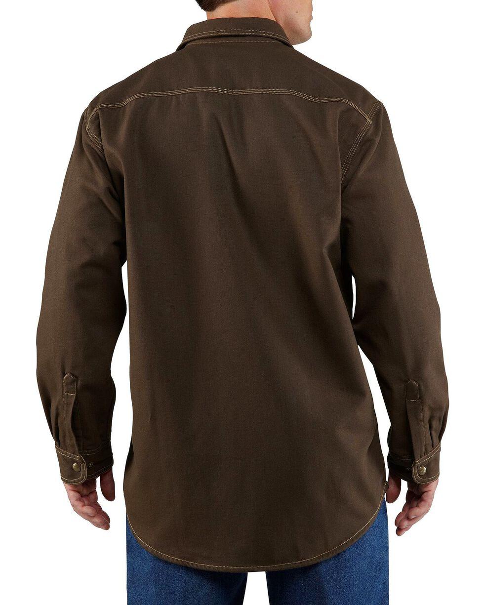 Carhartt Men's Flame Resistant Canvas Shirt Jacket, Dark Brown, hi-res