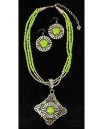 Blazin Roxx Women's Multi-Strand Triangle Pendant Necklace & Earrings Set, , hi-res