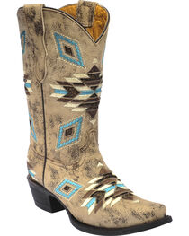 Corral Girls' Aztec Pattern Snip Toe Western Boots, Brown, hi-res