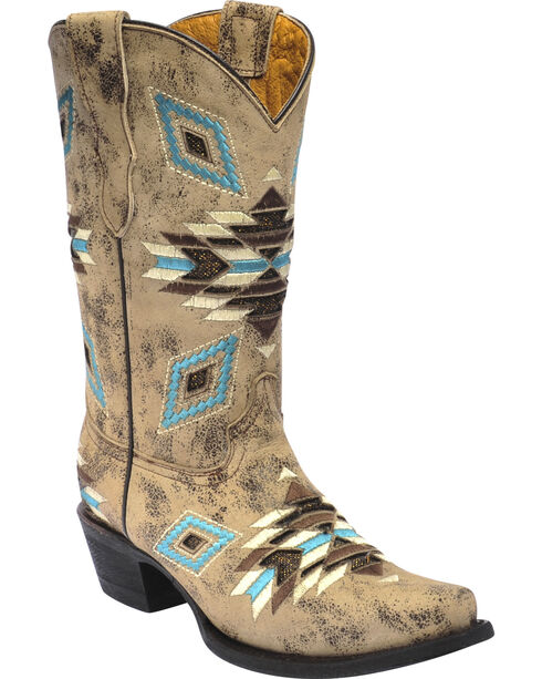 Corral Girls' Aztec Pattern Snip Toe Western Boots, , hi-res