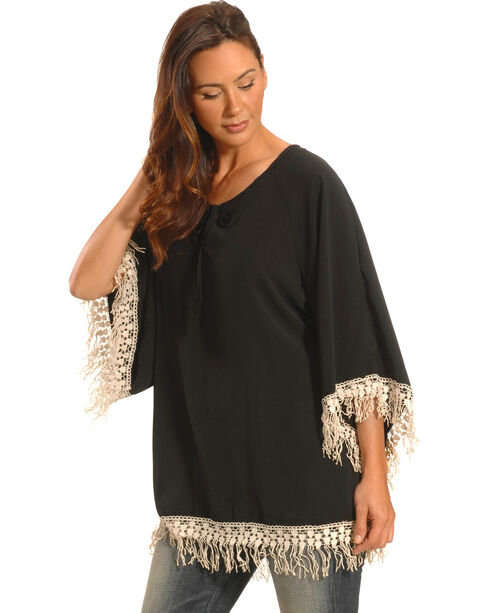 Lawman Women's Black Crochet Trimmed Top - Plus Sizes, Black, hi-res
