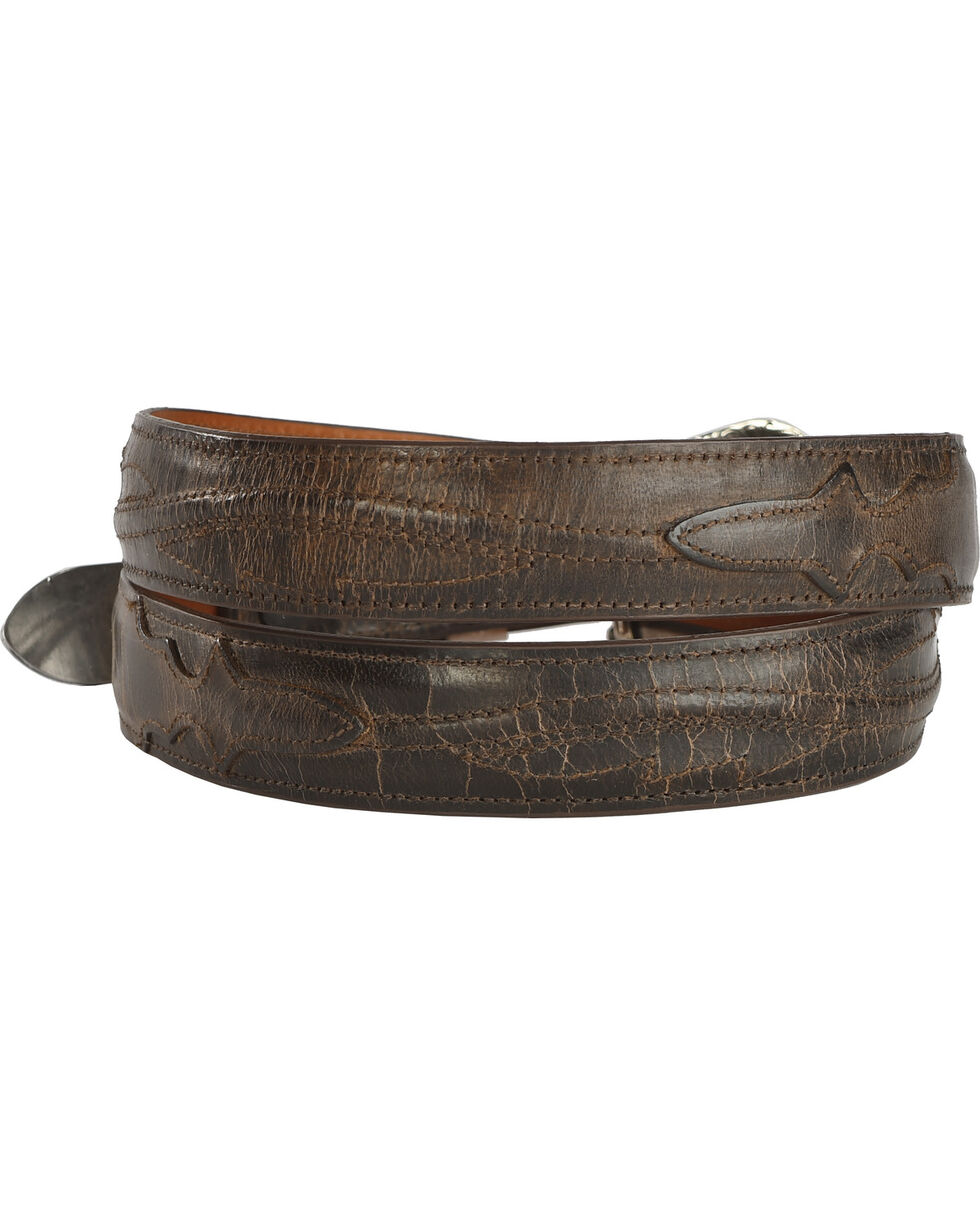 Lucchese Men's Brown Burnished Goat Seville Stitch Leather Belt, Chocolate, hi-res