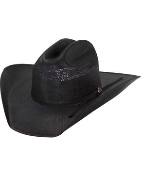Justin Men's Cutter 20X Straw Cowboy Hat, Black, hi-res