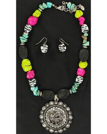 Blazin Roxx Cowgirl Concho Beaded Necklace & Earrings Set, , hi-res