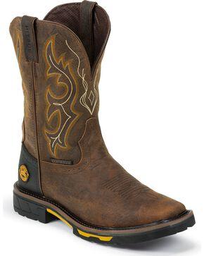 Justin Original Workboots Men's Hybred Waterproof Western Work Boots, Barnwood, hi-res