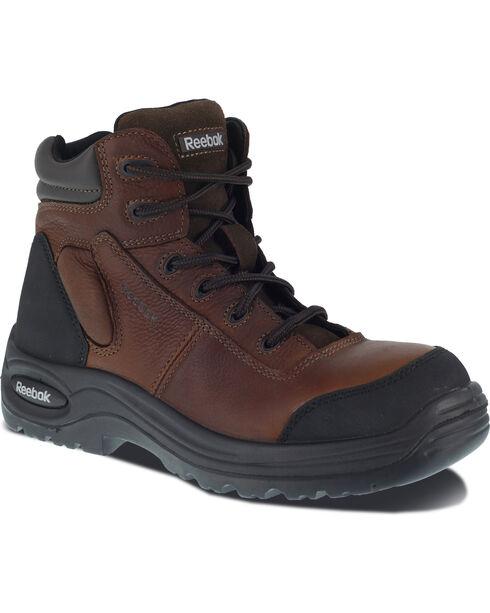 "Reebok Men's Trainex 6"" Lace-Up Work Boots - Composite Toe, Brown, hi-res"