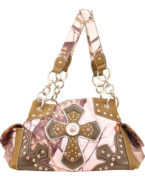 Blazin Roxx Pink Mossy Oak with Cross Applique Satchel Bag, Pink, hi-res