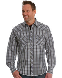 Wrangler Men's Navy/Brown Plaid Fashion Long Sleeve Snap Shirt, , hi-res