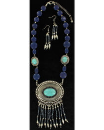 Blazin Roxx Turquoise Beaded Concho Necklace & Earrings Set, , hi-res