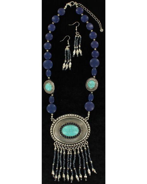 Blazin Roxx Turquoise Beaded Concho Necklace & Earrings Set, Blue, hi-res