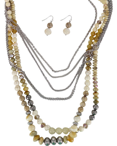 Shyanne® Women's Beaded Chunky Jewelry Set, Cream, hi-res