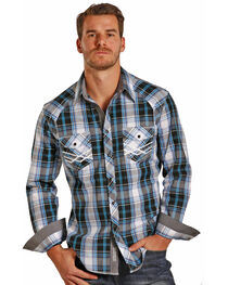 Rock & Roll Cowboy Men's Plaid Long Sleeve Snap Shirt, , hi-res