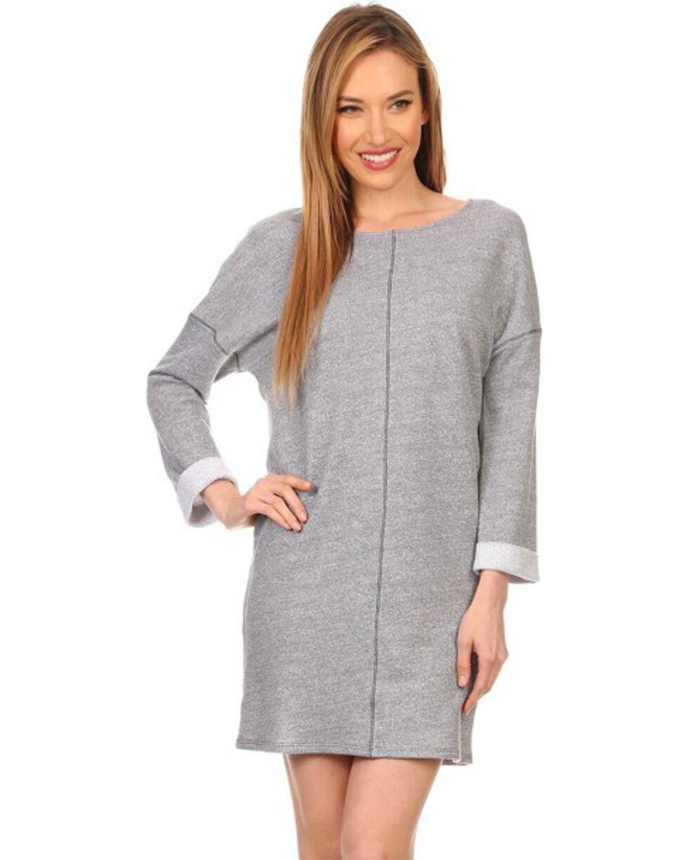 Freeway Apparel Women's Long Sleeve Sweatshirt Dress, Grey, hi-res