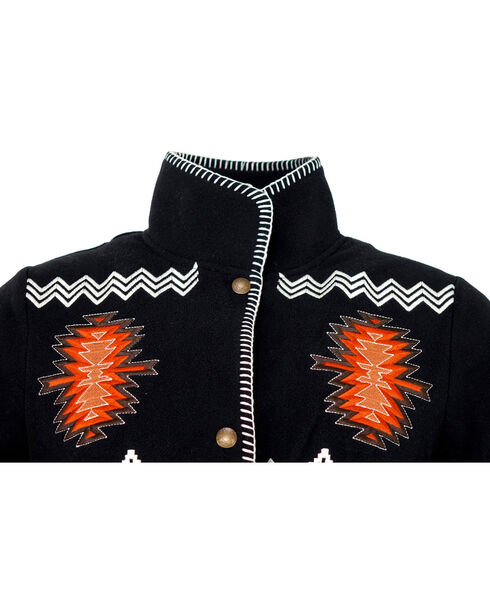 Outback Trading Company Women's Santa Fe Embroidered Fleece Jacket, Black, hi-res