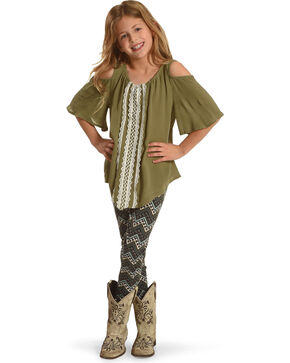 Self Esteem Girls' Cold Shoulder Top and Zigzag Leggings Set, Green, hi-res