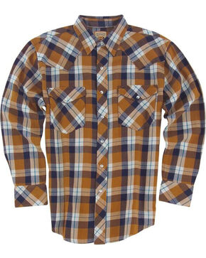 Resistol Men's Gold Eton Plaid Long Sleeve Shirt , Gold, hi-res