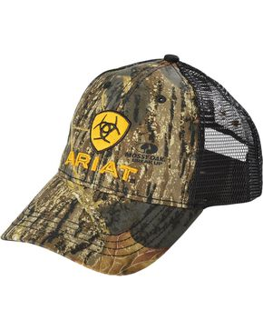 Ariat Men's Camo Embroidered Trucker Hat, Camouflage, hi-res