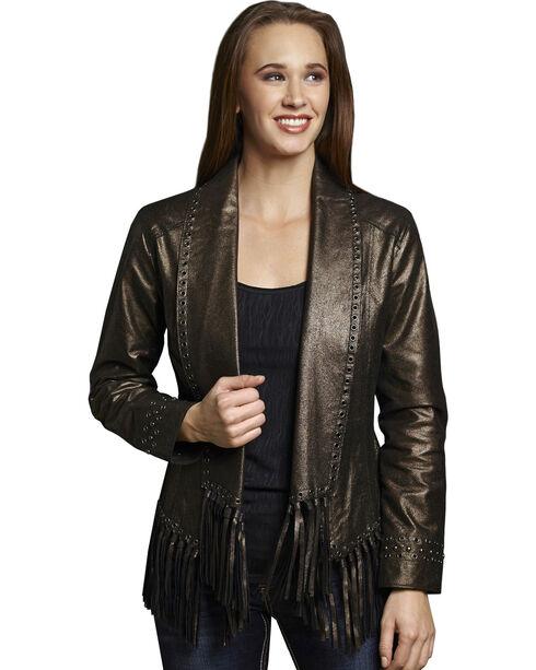 Cripple Creek Women's Metallic Leather Open Front Draped Jacket, Black, hi-res
