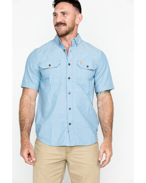 Carhartt Men's Short Sleeve Chambray Shirt, Chambray, hi-res