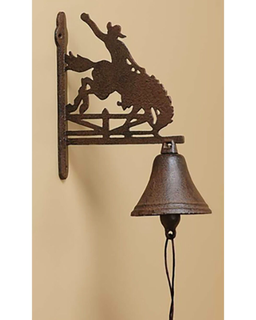Giftcraft Brown Cast Iron Cowboy & Horse Dinner Bell Decor, Brown, hi-res