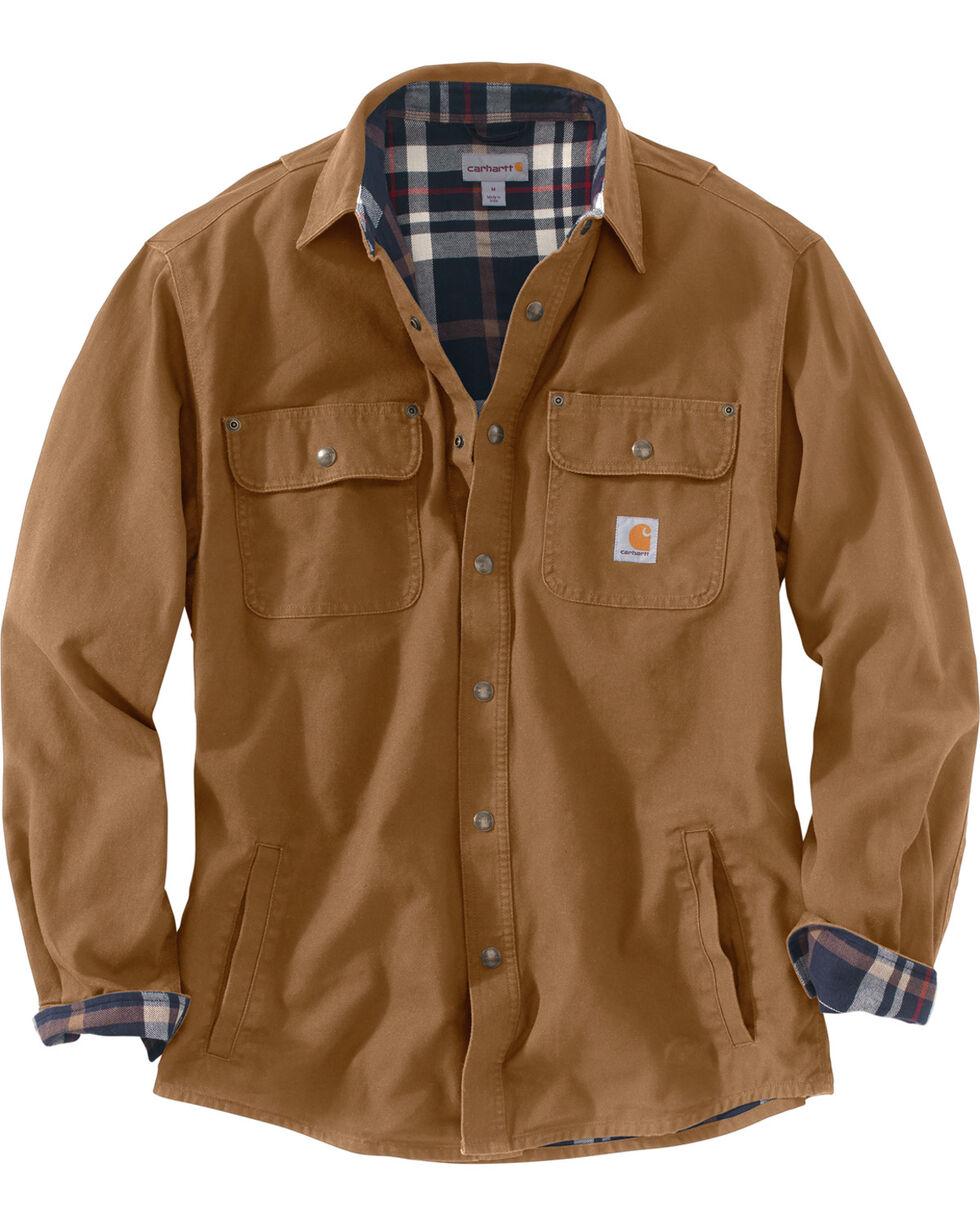 Carhartt Men's Weathered Canvas Shirt Jacket, Brown, hi-res