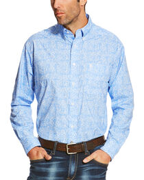 Ariat Men's Blue Orodell Print Long Sleeve Western Shirt - Big, , hi-res