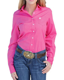 Cinch Women's Solid Pink Button Down Western Shirt, , hi-res