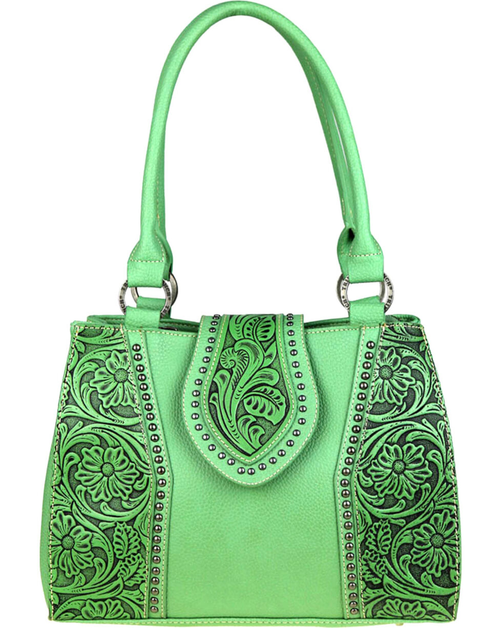 Montana West Trinity Ranch Tooled Leather Concealed Carry Satchel , , hi-res