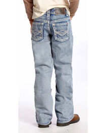 "Rock & Roll Cowboy Boys' BB Gun Light Wash Abstract ""A"" Jeans - Boot Cut , , hi-res"