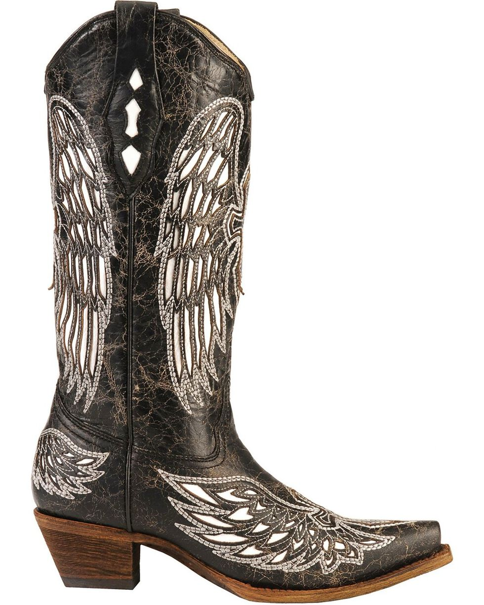 Corral Women's Wing and Cross  Snip Toe Western Boots, Black, hi-res
