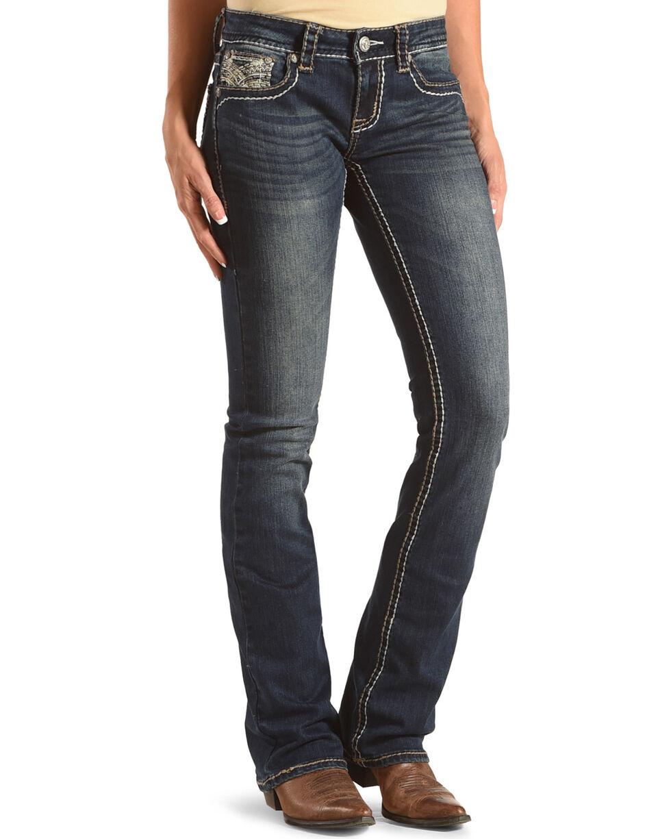Grace in LA Women's Junior Boot Embellished Pocket Jeans - Boot Cut, , hi-res